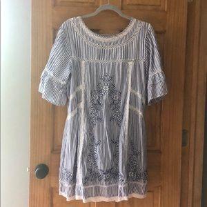 Seersucker Embroidered Dress